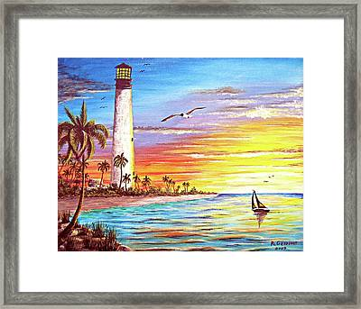 Blue Grapes Framed Print featuring the mixed media Lighthouse Sunrise by Riley Geddings