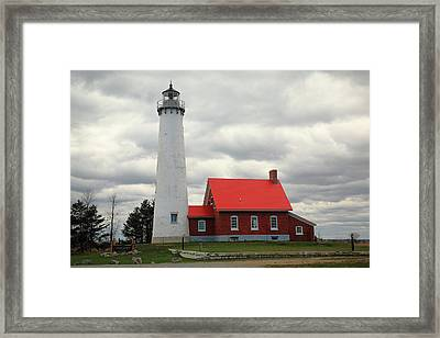 Lighthouse - Tawas Point Michigan Framed Print by Frank Romeo