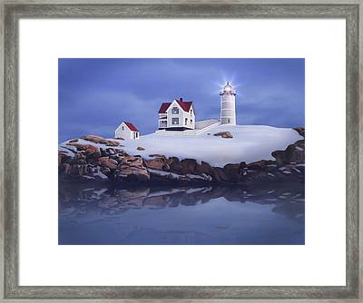 Lighting Of The Nubble Lighthouse Framed Print by James Charles