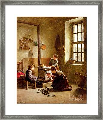 Lighting The Stove Framed Print by Pierre Edouard Frere