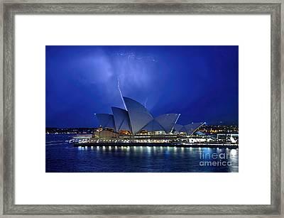 Lightning Above The Opera House Framed Print by Kaye Menner
