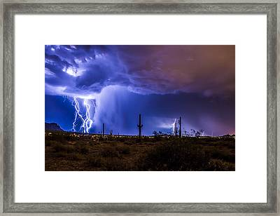 Lightning And Torrential Rain Framed Print by Chuck Brown