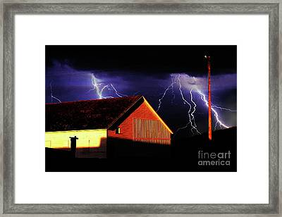 Lightning At The Old Ranch . 40d4577 Framed Print by Wingsdomain Art and Photography