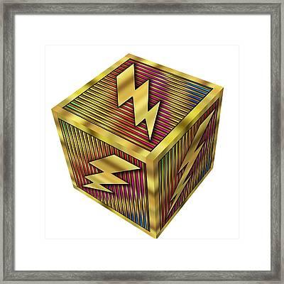 Lightning Bolt Cube - Transparent Framed Print by Chuck Staley