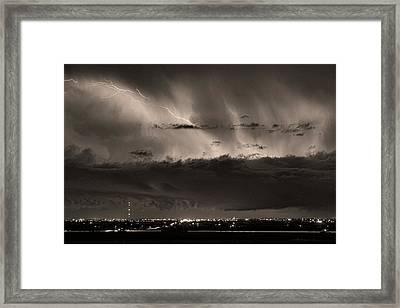 Lightning Cloud Burst Boulder County Colorado Im39 Sepia Framed Print by James BO  Insogna