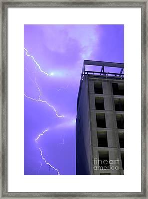 Lightning On Rivadavia 2 Framed Print by Balanced Art