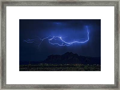 Lightning On The Superstitions  Framed Print by Saija  Lehtonen