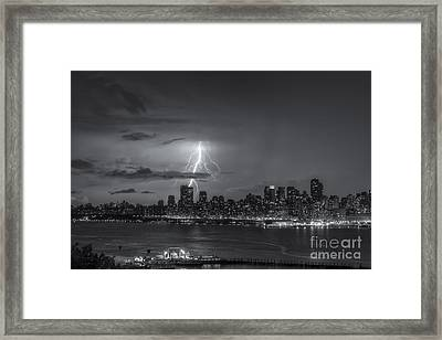 Lightning Over New York City Vi Framed Print by Clarence Holmes