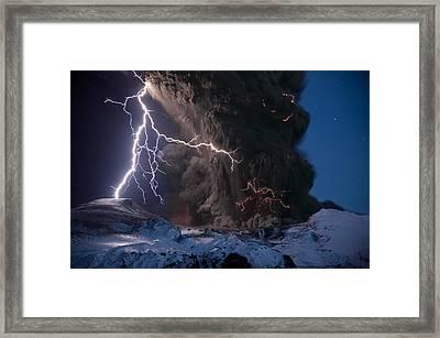 Lightning Pierces The Erupting Framed Print by Sigurdur H. Stefnisson