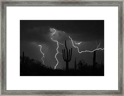 Lightning Storm Saguaro Fine Art Bw Photography Framed Print by James BO  Insogna
