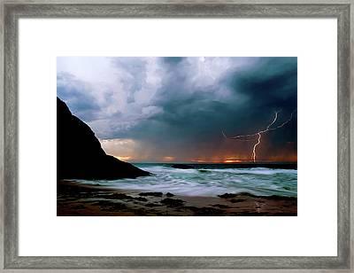 Lightning Strike Off Dana Point California Framed Print by Cliff Wassmann