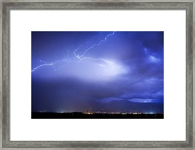Lightning Strikes Over Boulder Colorado Framed Print by James BO  Insogna