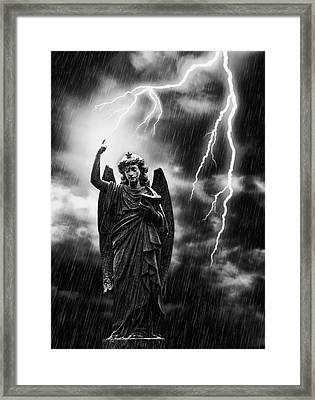 Lightning Strikes The Angel Gabriel Framed Print by Amanda And Christopher Elwell