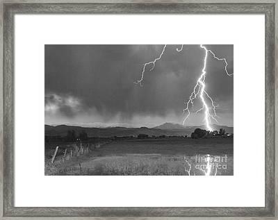 Lightning Striking Longs Peak Foothills 5bw Framed Print by James BO  Insogna