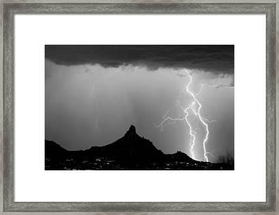 Lightning Thunderstorm At Pinnacle Peak Bw Framed Print by James BO  Insogna