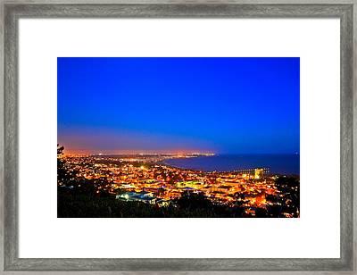 Lights Alone Coast Framed Print by Albert Valles