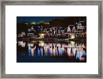 Lights Of Boathouse Row Framed Print by Frozen in Time Fine Art Photography