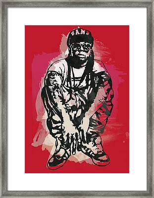 Lil Wayne Pop Stylised Art Sketch Poster Framed Print by Kim Wang