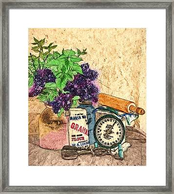Lilac In Pantry Framed Print by John K Woodruff