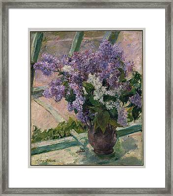 Lilacs In A Window Framed Print by MotionAge Designs