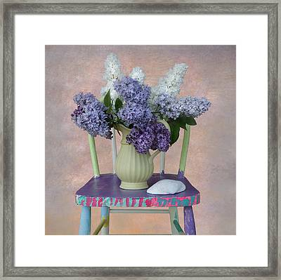 Lilacs With Chair And Shell Framed Print by Jeff Burgess