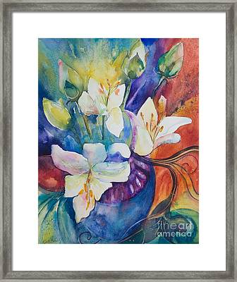 Lilies And Lotus Buds Framed Print by Kate Bedell