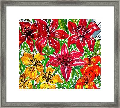 Lilies Framed Print by Nancy Rucker