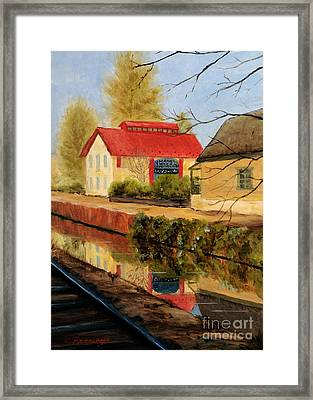 Lilly's On The Canal Framed Print by Cindy Roesinger