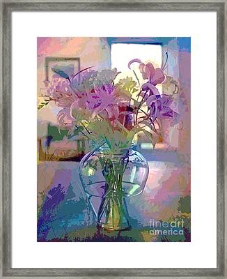 Lily Flowers In Glass Framed Print by David Lloyd Glover