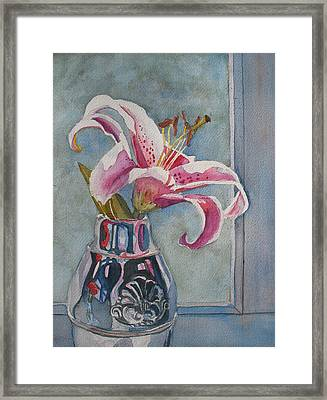 Lily With Carnations Framed Print by Jenny Armitage