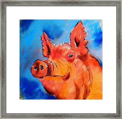 Limited Edition Happy Pig Framed Print by Julia S Powell