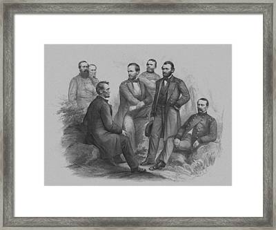 Lincoln And His Generals Framed Print by War Is Hell Store