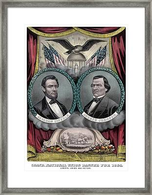 Lincoln And Johnson Election Banner 1864 Framed Print by War Is Hell Store