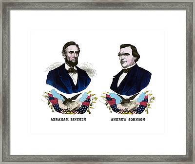 Lincoln And Johnson Campaign Poster Framed Print by War Is Hell Store