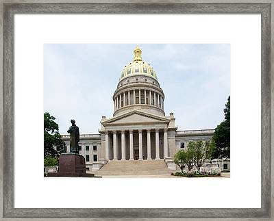 Lincoln And West Virginia Capitol Framed Print by Thomas R Fletcher