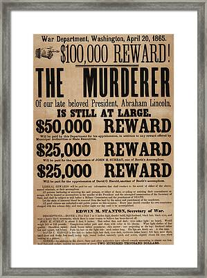 Lincoln Assassination Reward Poster Framed Print by American School