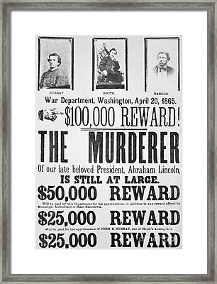 Lincoln Assassination Wanted Poster Framed Print by American School
