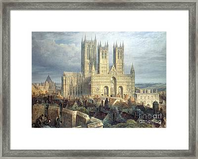 Lincoln Cathedral From The North West Framed Print by Frederick Mackenzie