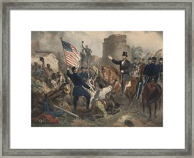 Lincoln In City Point Framed Print by American School