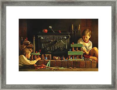 Lincoln Logs Framed Print by Greg Olsen