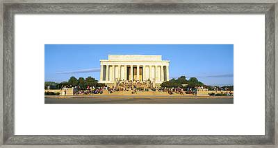 Lincoln Memorial And Tourists Framed Print by Panoramic Images