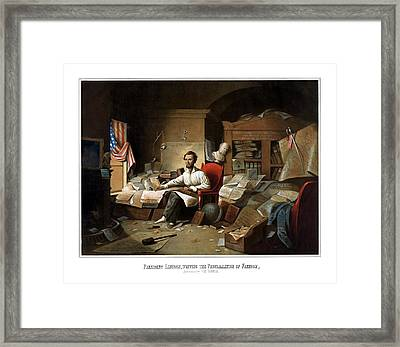 Lincoln Writing The Emancipation Proclamation Framed Print by War Is Hell Store
