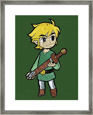 Link Legend Of Zelda Nintendo Retro Video Game Character Recycled Vintage License Plate Art Portrait Framed Print by Design Turnpike