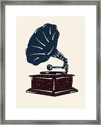 Linoleum Cut Gramophone Design Framed Print by Shawn Hempel