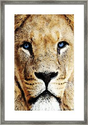 Lion Art - Blue Eyed King Framed Print by Sharon Cummings