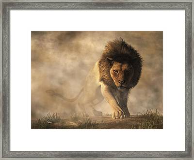 Lion Framed Print by Daniel Eskridge