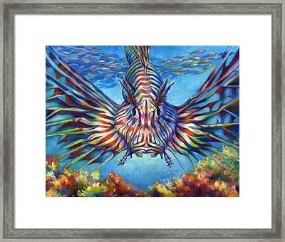 Lion Fish Framed Print by Nancy Tilles