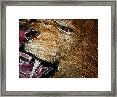 Lion Fractal Framed Print by Shane Bechler