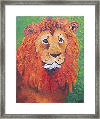 Lion Head Framed Print by Lore Rossi