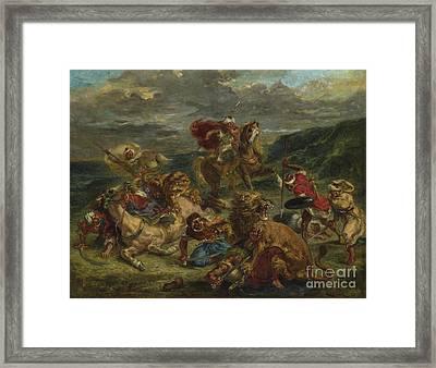 Lion Hunt Framed Print by Ferdinand Victor Eugene Delacroix